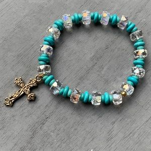 Handmade Clear and Faux Turquoise Bracelet